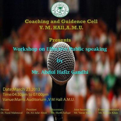 Public Speaking Workshop on 23 March 2013 in AMU